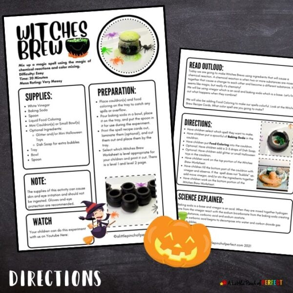 Witches Brew Halloween Experiment Directions Printable