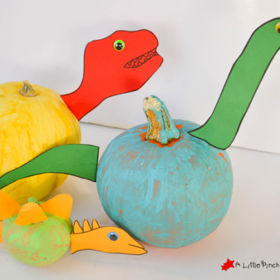 No Carve Dinosaur Pumpkin with Free Pattern that's Ferociously Cute