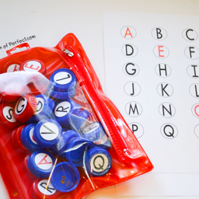 DIY Uppercase Milk Cap Letter Set and Free Printable