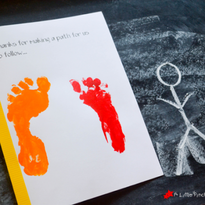 Handprint and Footprint Father's Day Card: Thanks for Holding My Hand
