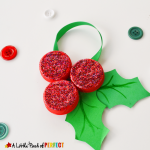 Homemade Milk Cap Holly Ornaments: Christmas Kids Craft