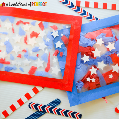 Patriotic Suncatcher Kids Craft for Fourth of July & Memorial Day