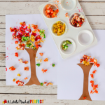 Colorful Fall Tree Popcorn Craft for Kids