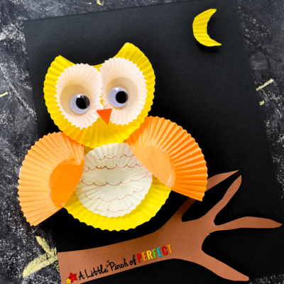 How to Make a Cute Cupcake Liner Owl Craft with Kids
